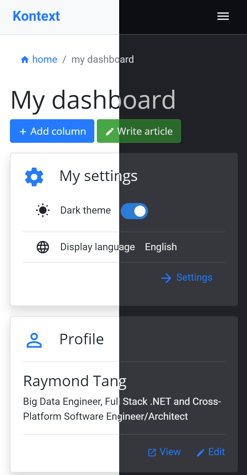Kontext Dark Theme Mode is Available