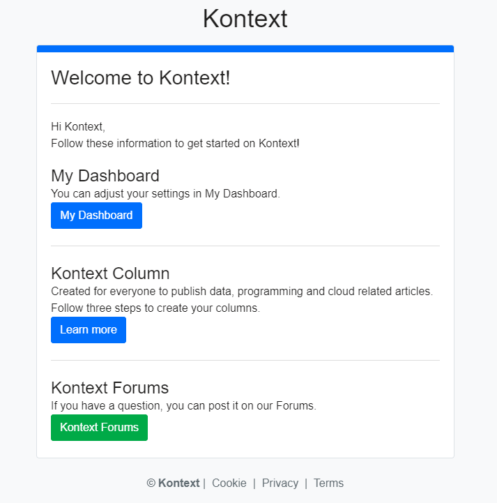 """Welcome to Kontext"" Email Notifications"