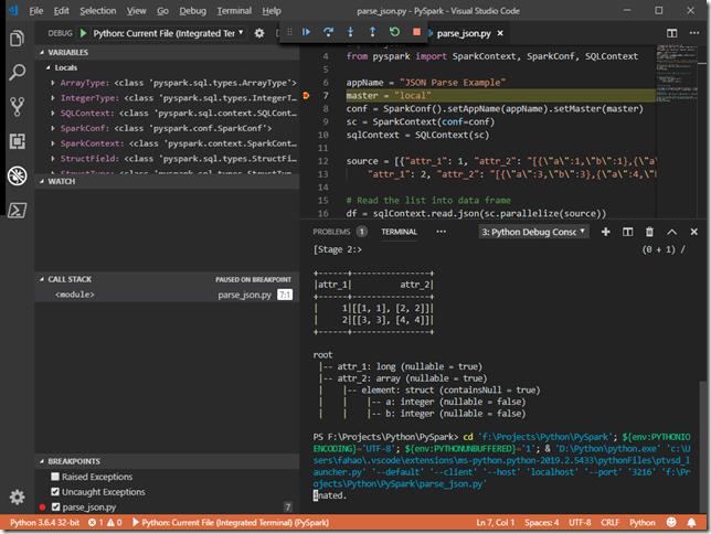 Debug PySpark Code in Visual Studio Code - Spark - Kontext